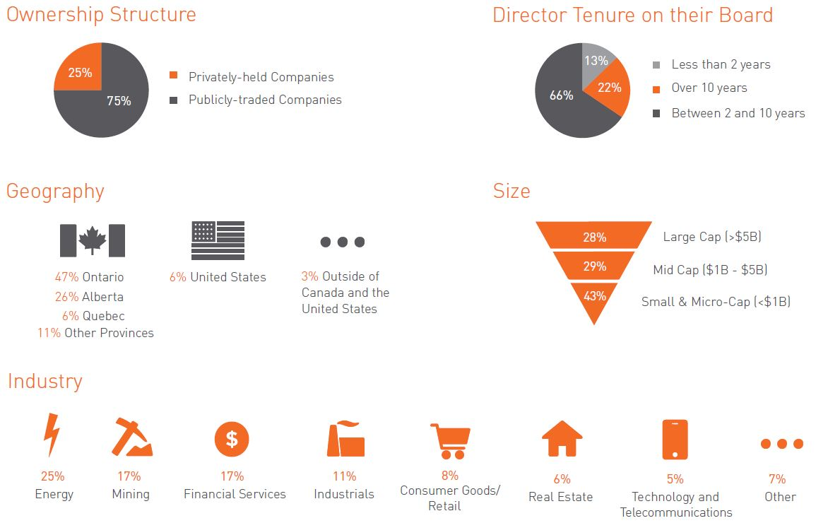 Ownership Structure, Director Tenure, Geography, Size, Industry graphic